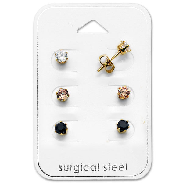Children's Earrings:  Surgical Steel, Gold IP, 4mm CZ Stud Gift Pack