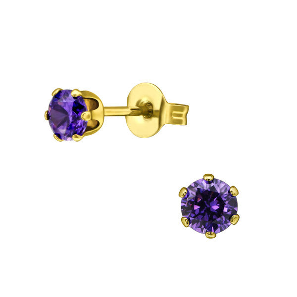 Children's Earrings:  Surgical Steel with Gold IP, 6 Prong Amethyst  CZ Studs 4mm