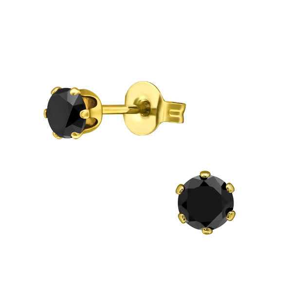 Children's Earrings:  Surgical Steel with Gold IP, 6 Prong Jet CZ Studs 4mm
