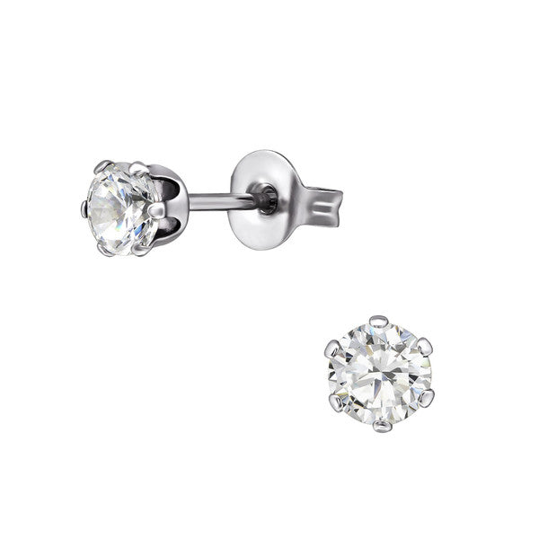 Children's Earrings:  Sterling Silver 6 Prong 4mm Clear CZ Studs
