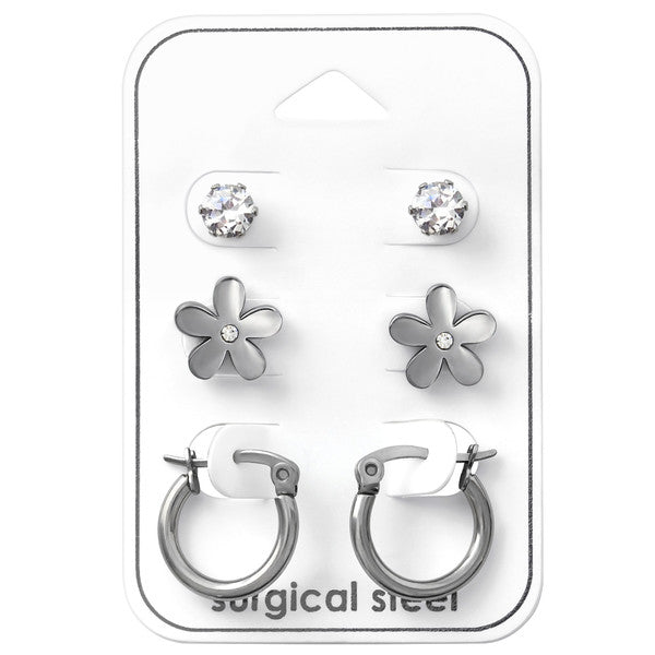 Children's and Teens' Earrings:  Surgical Steel Earrings x 3 Gift Pack: Studs, Flowers and Hoops