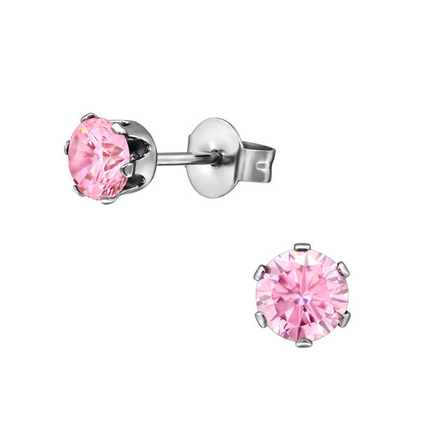 Children's Earrings:  Surgical Steel  6 Prong Pink CZ Studs 4mm