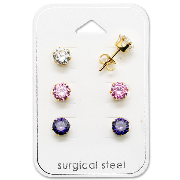 Children's and Teens' Earrings:  Surgical Steel, Gold IP 6mm Pink, White and Purple CZ Studs x 3 Gift Pack