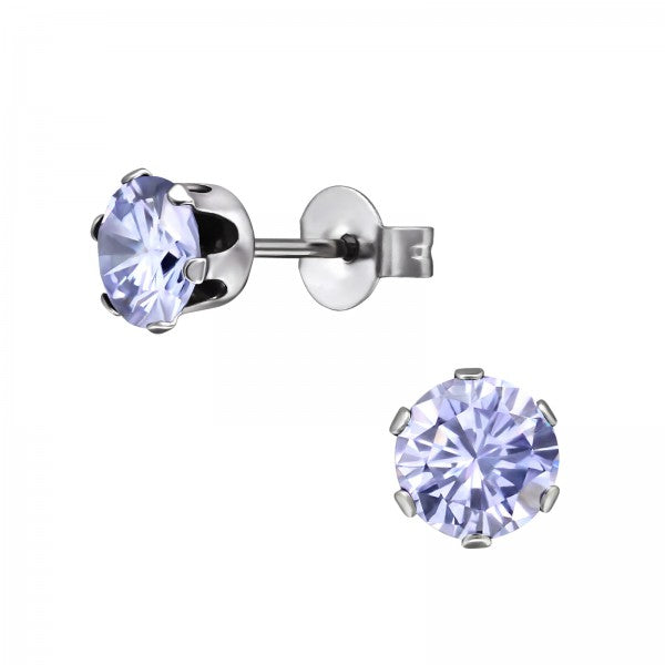 Children's, Teens' and Mothers'Earrings:  Surgical Steel Lavender 6 Prong CZ Studs 6mm