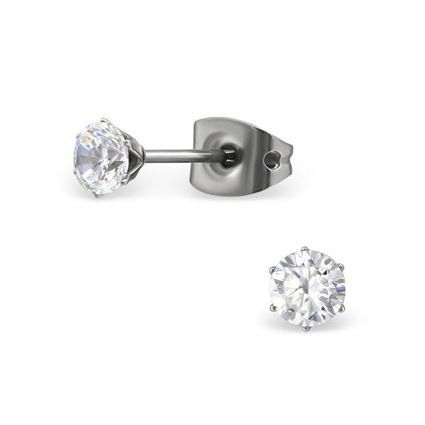 Children's Earrings - Titanium Clear Crystal Stud Earrings 5mm