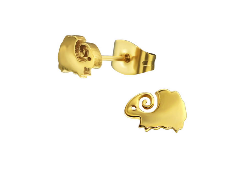 Children's Earrings:  Surgical Steel Gold IP Woolly Sheep Earrings