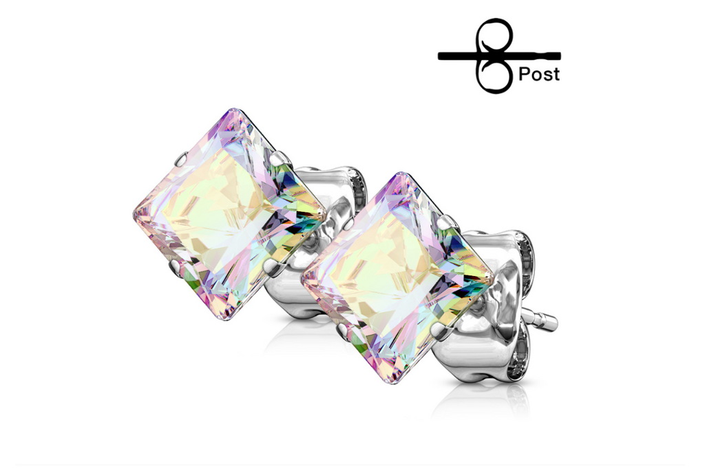 Children's Earrings:  Surgical Steel Square (Princess Cut) 4mm Aurora Borealis Studs