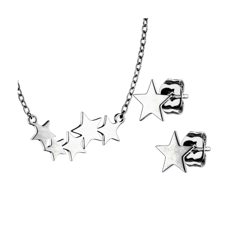 Children and Teens' Necklace and Earrings Set:  Surgical Steel Star Necklace and Earrings Set