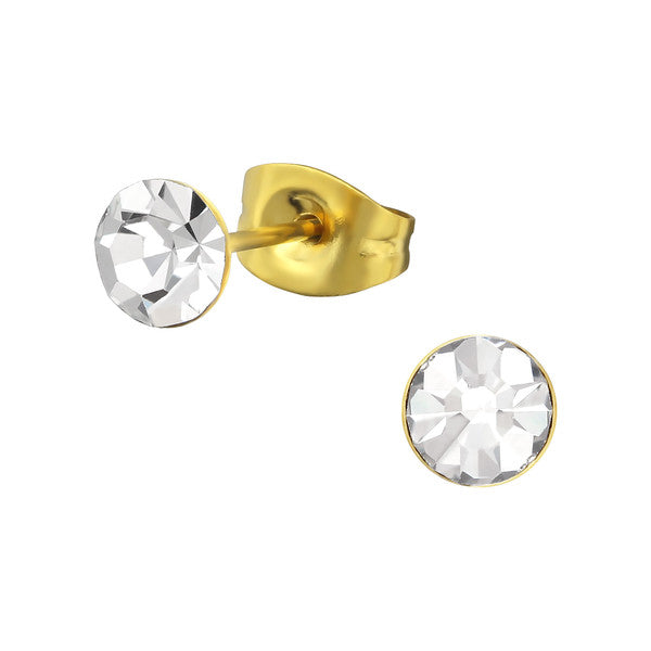 Children's Earrings:  Yellow Gold over Surgical Steel Clear Stud Earrings