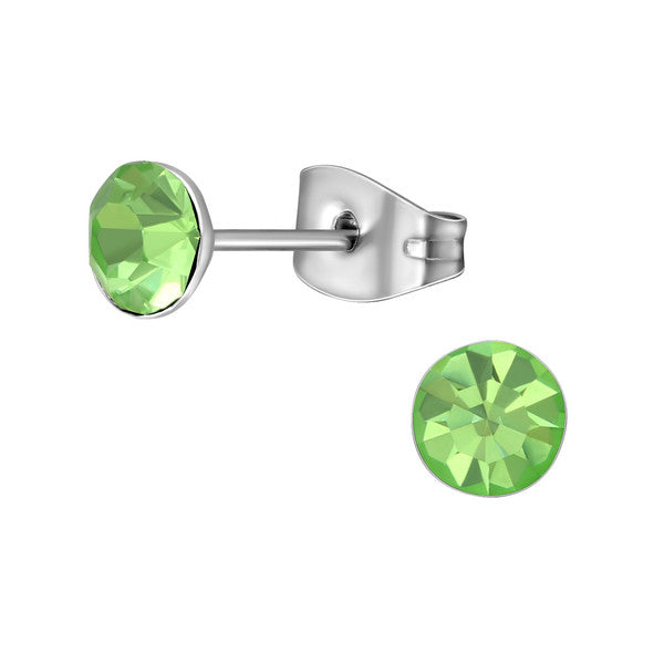 Children's, Teens' and Mothers'Earrings:  Surgical Steel Peridot CZ Studs 6mm