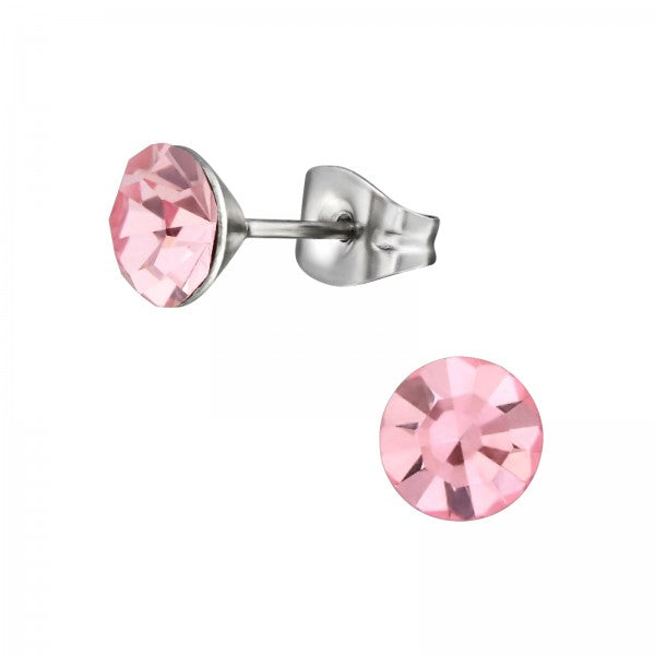 Children's, Teens' and Mothers' Earrings:  Surgical Steel Pink CZ Studs 6mm