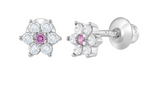 Children's Earrings:  Sterling Silver White Pink CZ Flower Earrings with Screw Backs 6mm