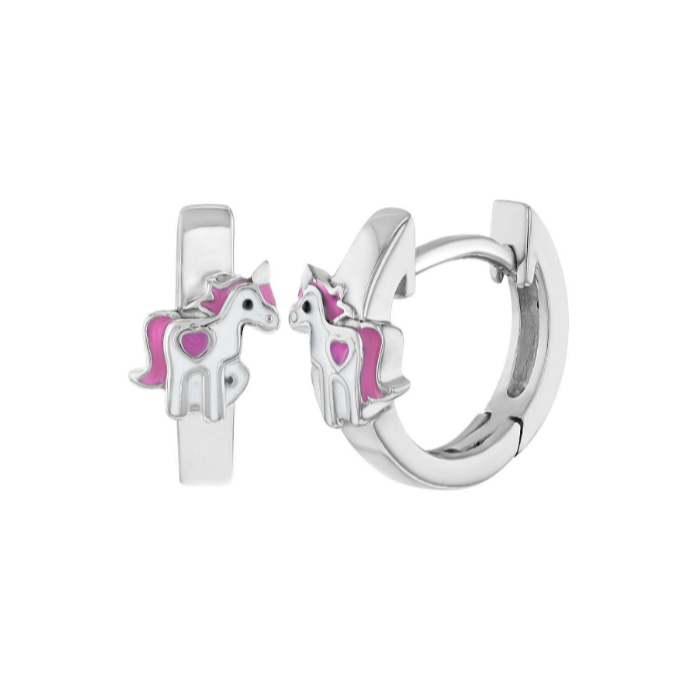 Baby and Children's Earrings:  Sterling Silver Huggies with Enamelled Unicorn