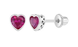 Baby and Children's Earrings:  Sterling Silver Bezel Set Emerald CZ Hearts with Screw Backs
