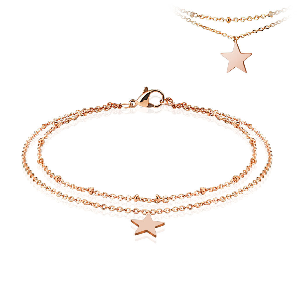 Children's Anklets:  Surgical Steel, Rose Gold IP 21cm Anklets with Star