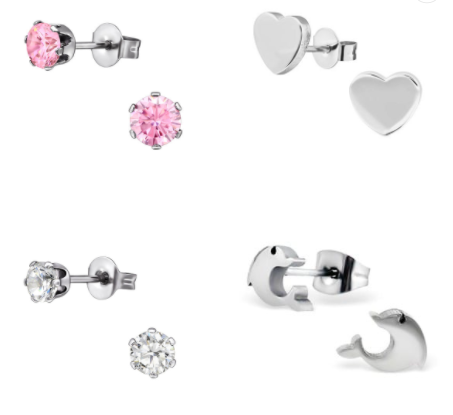 Children's Earrings:  Surgical Steel Dolphins, Pink CZ 4mm, Clear CZ 4mm and Flat Heart Gift Set 12
