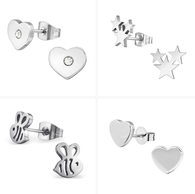Children's Earrings - Surgical Steel Triple Stars, Flat Hearts, Bee and Heart with CZ Set 1