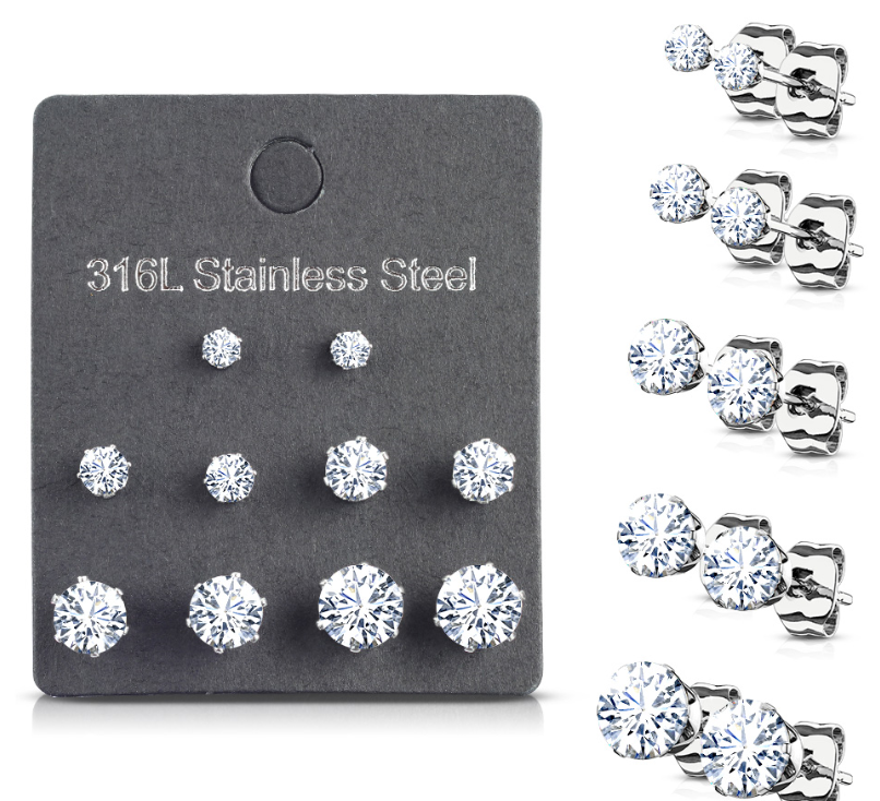 Baby, Children's, Teens' and Mothers Earrings:  Surgical Steel Family Pack of 5 Pairs of Clear CZ Stud Earrings