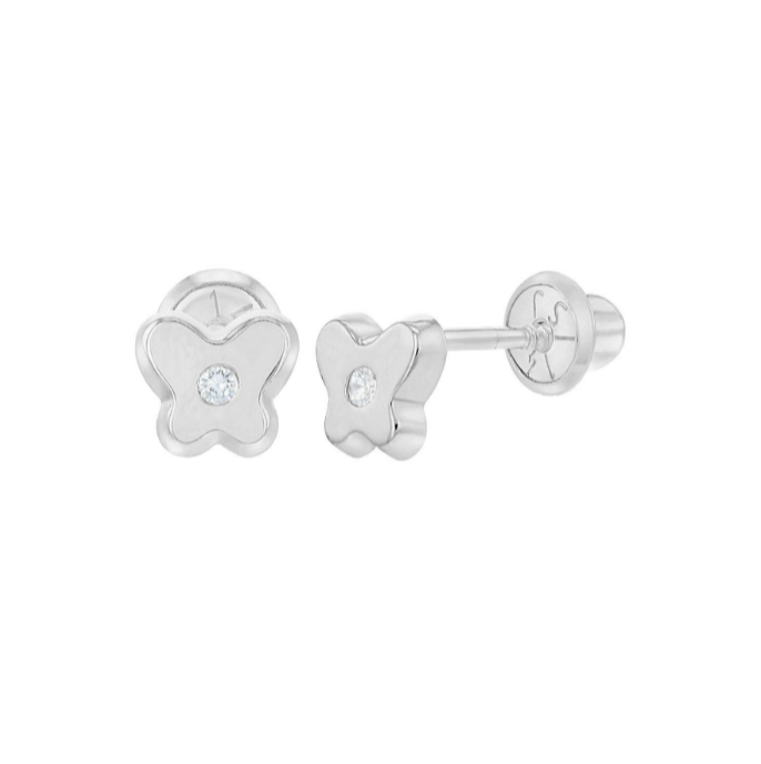 Baby Earrings:  14k White Gold Butterfly with CZ Screw Back Earrings with Gift Box