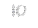 Toddlers and Children's Earrings:  Sterling Silver XOX CZ Huggies 8mm Internal Diameter