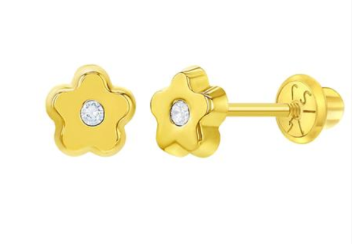 Baby Earrings:  14k Gold Petite Flower with CZ for Newborns -  2 or 3 with Screwbacks