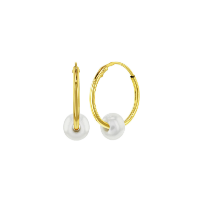 Children's and Teens' Earrings:  14k Gold 10mm Hoops/Sleepers with Cultured Pearl with gift box