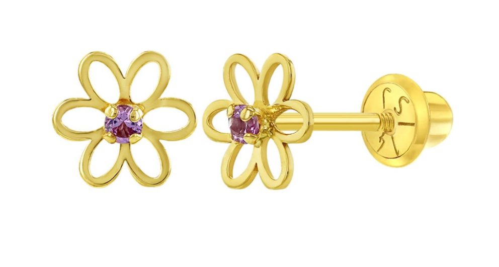 Baby and Children's Earrings:  14k Gold Open Flower with CZ Screw Back Earrings with Gift Box