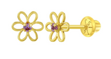 Baby and Children's Earrings:  14k Gold Open Flower with Pink CZ Screw Back Earrings with Gift Box