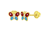 Baby and Children's Earrings:  14k Gold Red and Blue Enamelled Butterflies with Screw Backs with Gift Box