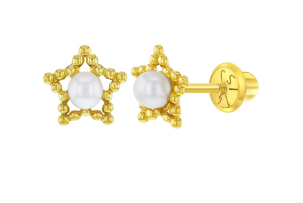 Baby and Children's Earrings:  14k Gold Stars with Cultured Pearl Centre - with Screw Backs and Gift Box