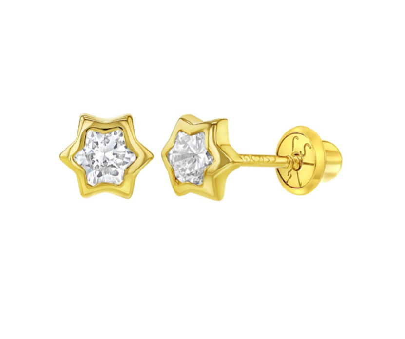 Baby and Children's Earrings:  14k Gold, Clear CZ Stars with Screw Backs - Newborn to 3 or 4 with Gift Box