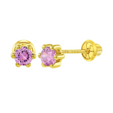 Baby and Children's Earrings:  14k Gold 4mm Pink Soliltaire CZ, 6 Prong Screw Backs with Gift Box