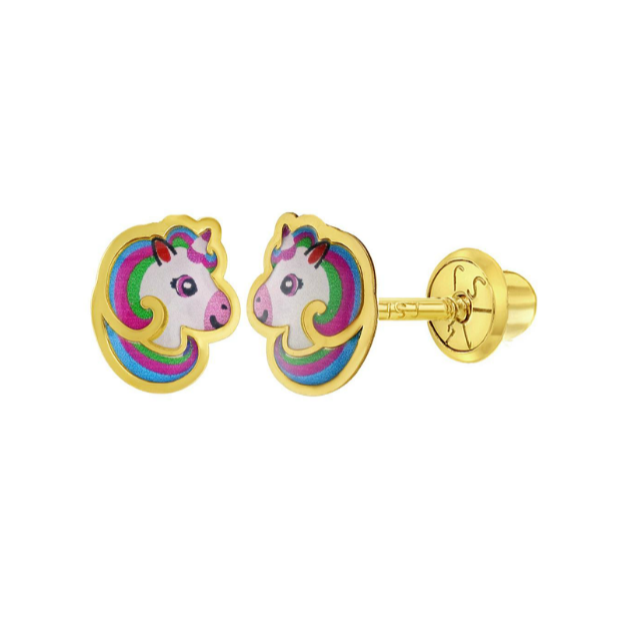 Children's Earrings:  14k Gold Enamelled Unicorn Heads with Screw Backs and Gift Box