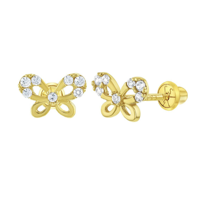 Baby and Children's Earrings:  14k Gold, Clear CZ Butterfly Screw Back Earrings with Gift Box