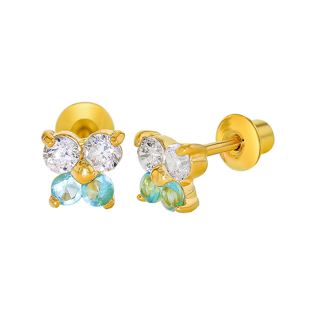 Baby and Children's Earrings:  18k Gold Filled, White and Aqua CZ Butterflies with Screw Backs