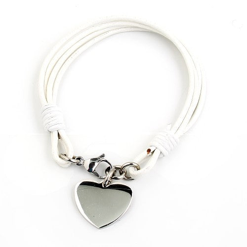 Children's and Teens' Bracelets:  Leather Multi-Strands with Engravable, Titanium Heart