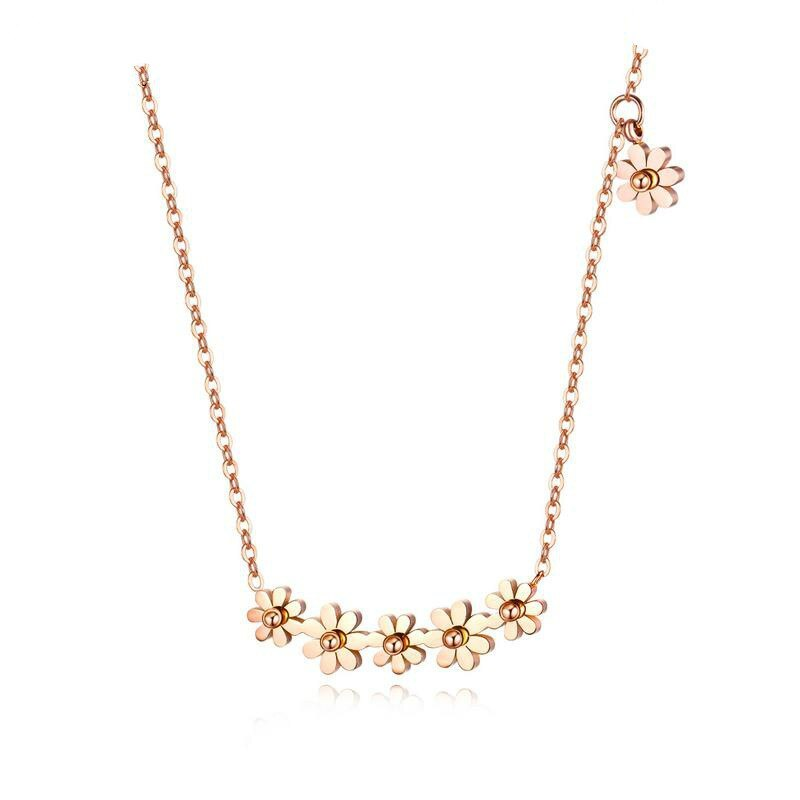 Children's, Teens' and Mothers' Necklaces:  Titanium with Rose Gold IP Daisy Necklace