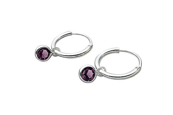 Children's Earrings:  Sterling Silver Sleepers with Amethyst CZ Charms