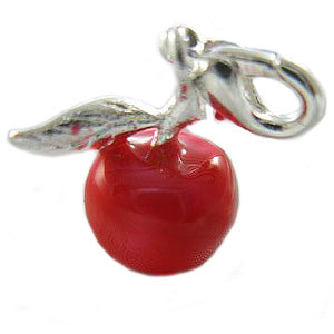Mothers' and Children's Charms:  Silver Plated, Enameled Red Apple Charms