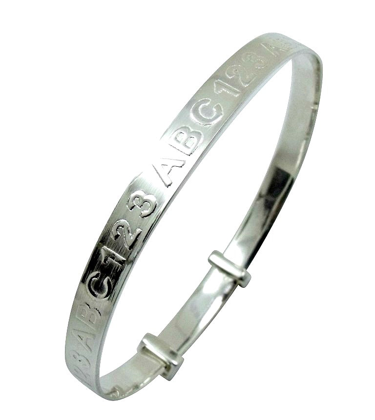 Baby and Children's Bangles:  Sterling Silver Expanding ABC123 Bangles