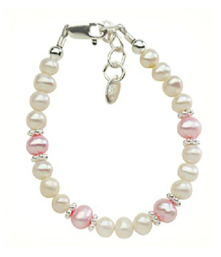 Children's Bracelets:  Sterling Silver, Freshwater Pearls in Pink and White for ages 1 - 5
