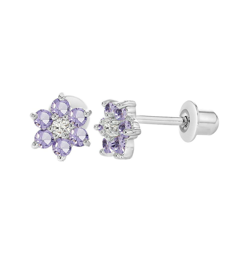 Baby and Children's Earrings:  18k White Gold Filled, Lavender CZ Screw Back Flower Earrings