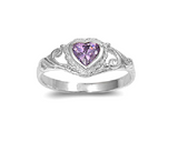 Baby and Children's Rings:  Sterling Silver, Amethyst CZ Heart Rings