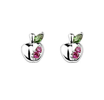 Baby and Children's Earrings:  Sterling Silver CZ Apple Safety Screw Backs
