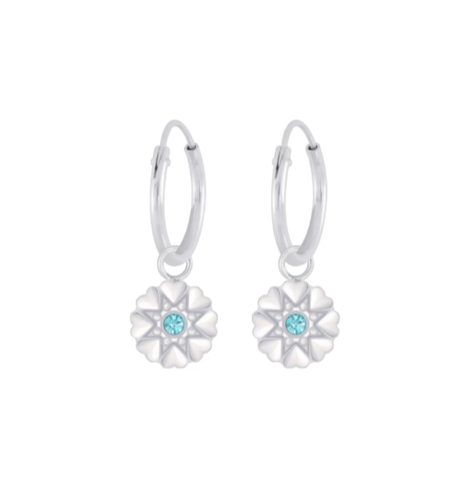Children's Earrings:  Sterling Silver Sleepers with Silver Flowers - Aqua CZ