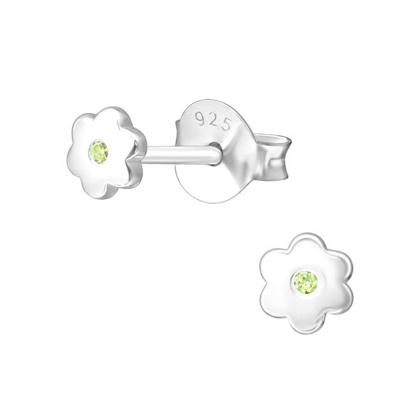 Baby and Children's Earrings:  Sterling Silver Flower Earrings with Central Peridot CZ - August Birthstone