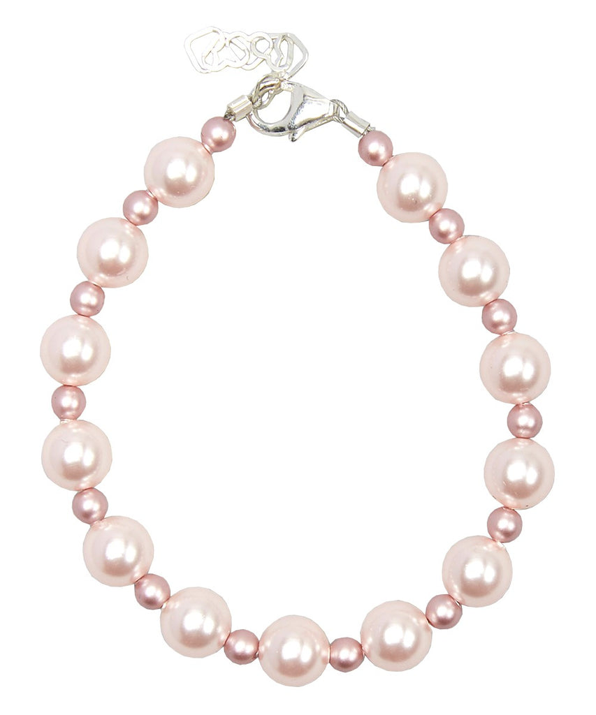 Children's Bracelets:  Sterling Silver with Pink Swarovski Pearls