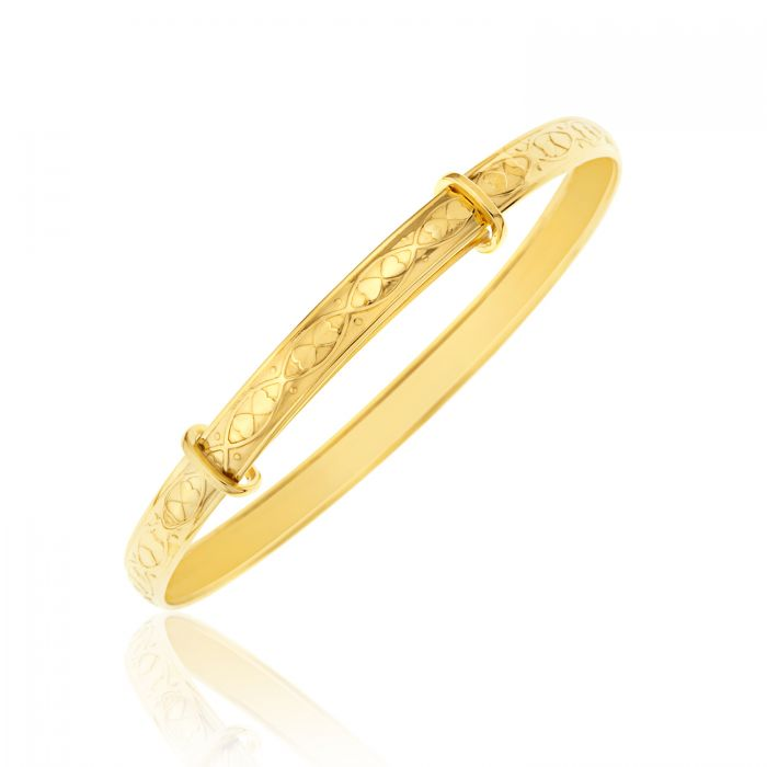 Children's Bangles:  9k Gold Heart Embossed Expanding Bangle Age 3 - 6 or 7