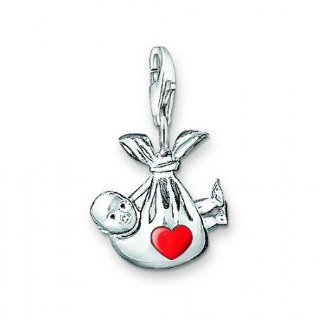 Mothers' Charms:  Silver Plated Newborn with Red Heart Charms