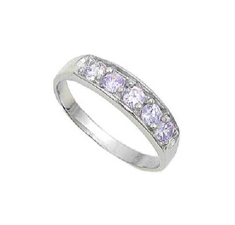 Baby and Children's Rings:  Premium Sterling Silver Baby and Children's Lavender CZ Rings